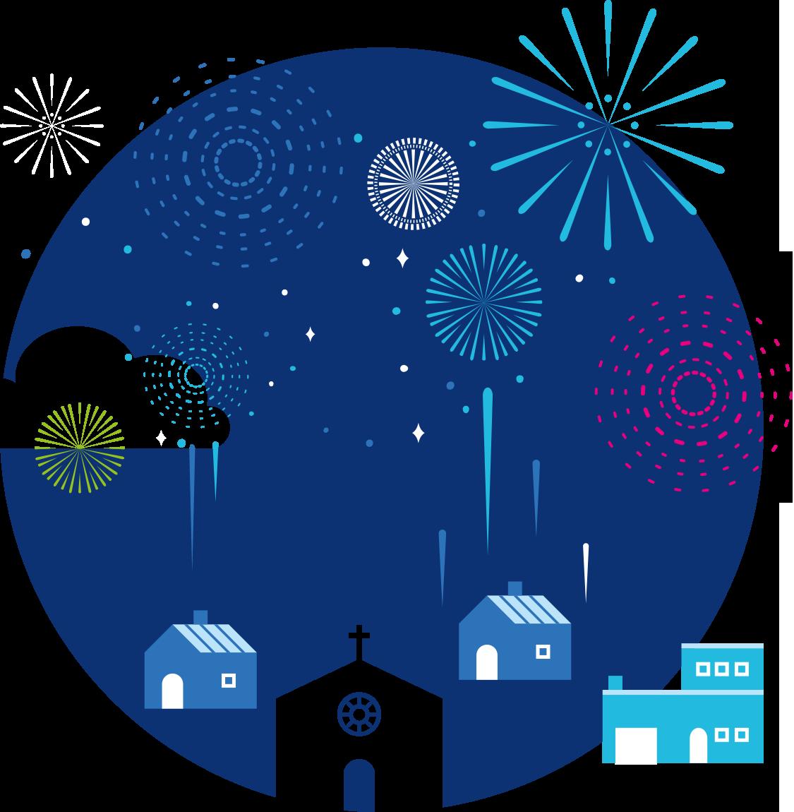 Vector illustration House Fireworks