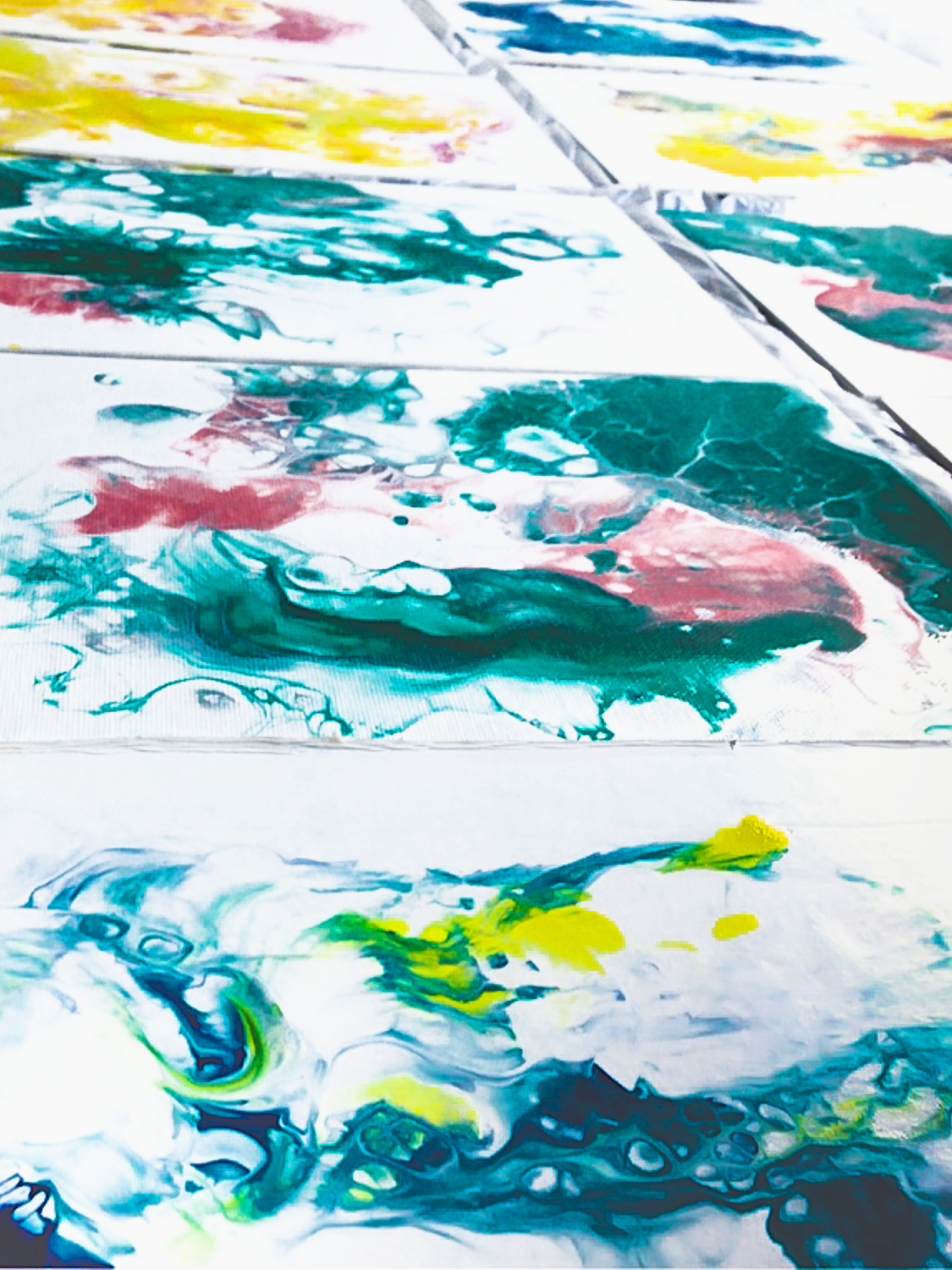 green blue red paint drying